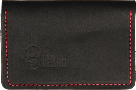 FB3602BK Flagrant Beard Wallet Black Red Stitched