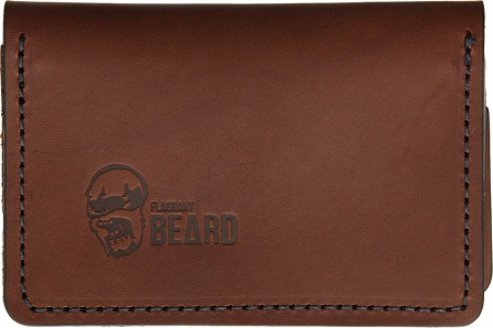 FB3604BR Flagrant Beard Wallet Brown Black Stitched