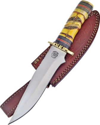 FCW024YB Frost Cutlery Chipaway Sitting Bear Bowie Knife Yellow Bone
