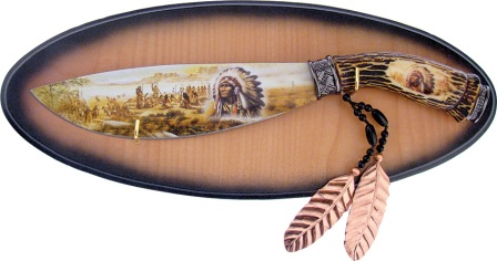 FHK0239I Frost Cutlery Native American Fixed Blade Knife
