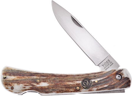 FVC111DS Frost Cutlery Voss Cutlery Dirt Buster Pocket Knife Stag with Sheath