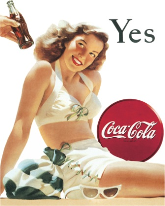 TSN1056 Tin Sign - Coke Yes White Bathing Suit
