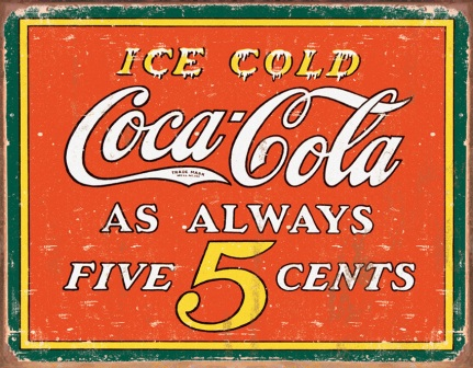 TSN1471 Tin Sign - Coke Always Five Cents
