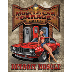 TSN1568 Tin Sign - Legends Detroit Muscle Car Garage