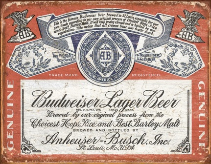 TSN1751 Tin Sign - Budweiser Weathered