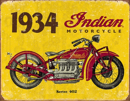 TSN1929 Tin Sign - 1934 Indian Motorcycles