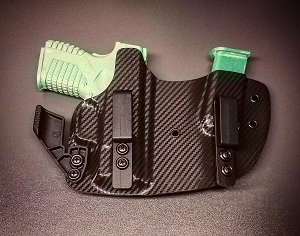 DCTGMHSXDS33CF Springfield XD-S 3.3 Black Carbon Fiber Kydex Gun and Magazine Appendix Holster