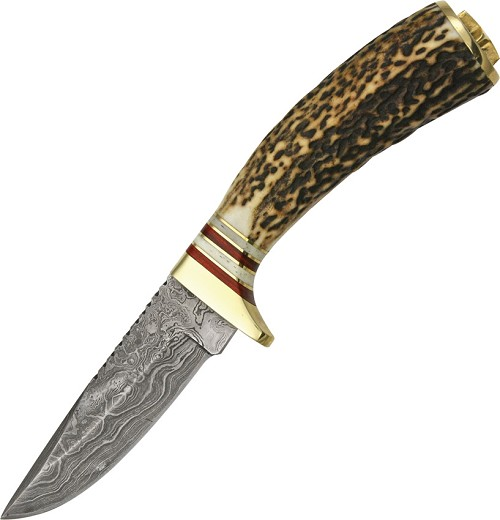 DM1046 Damascus Steel Whitetail Skinner Knife Stag Handles
